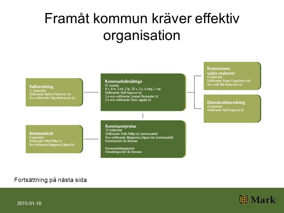 Framåt kommun kräver effektiv organisation 2015-01-10 Fortsättning på nästa sida