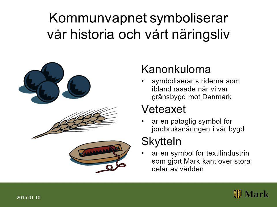 Kommunvapnet symboliserar vår historia och vårt näringsliv Kanonkulorna symboliserar striderna som ibland rasade när vi var gränsbygd mot Danmark Vete