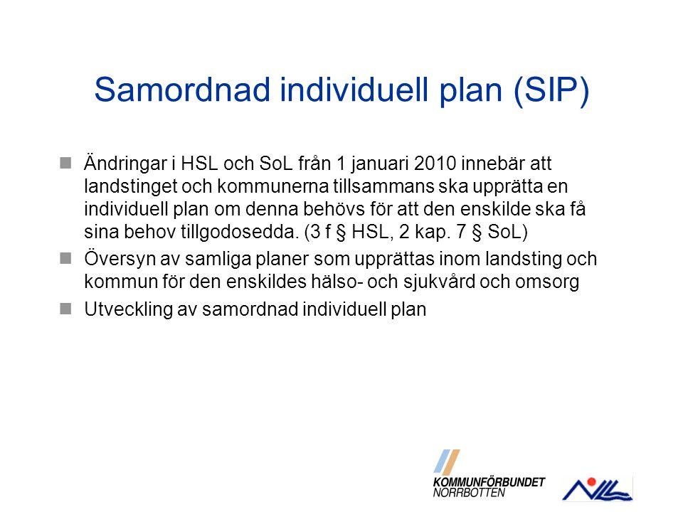 Samordnad individuell plan (SIP) Ändringar i HSL och SoL från 1 januari 2010 innebär att landstinget och kommunerna tillsammans ska upprätta en indivi