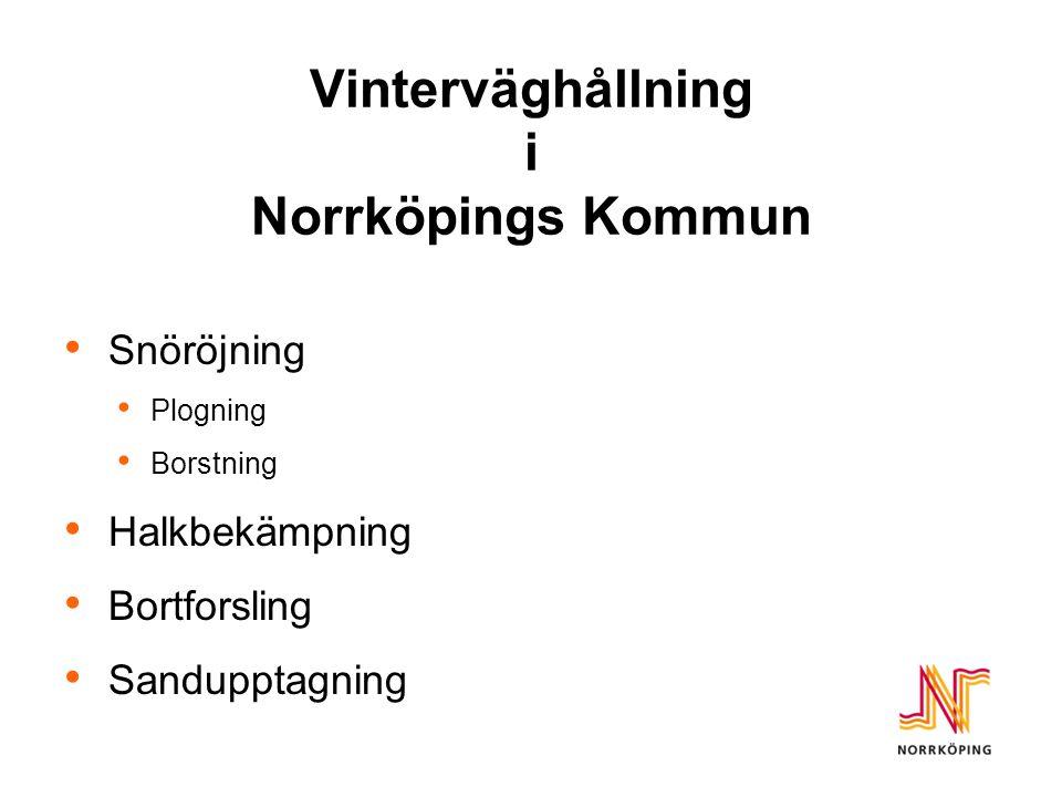 Vinterväghållning i Norrköpings Kommun Snöröjning Plogning Borstning Halkbekämpning Bortforsling Sandupptagning