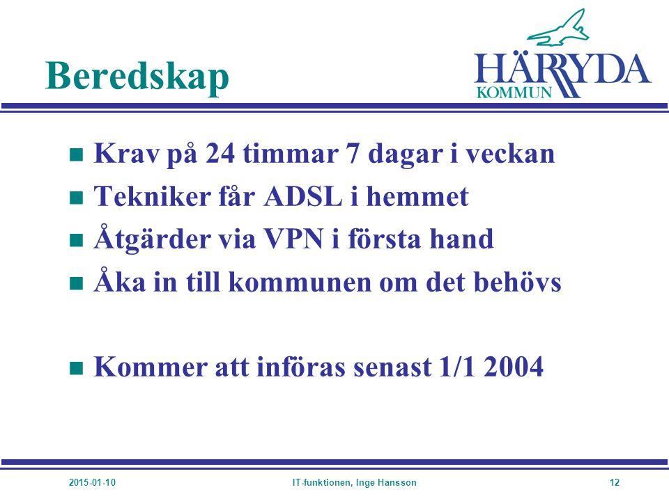 2015-01-10IT-funktionen, Inge Hansson12 Beredskap n Krav på 24 timmar 7 dagar i veckan n Tekniker får ADSL i hemmet n Åtgärder via VPN i första hand n