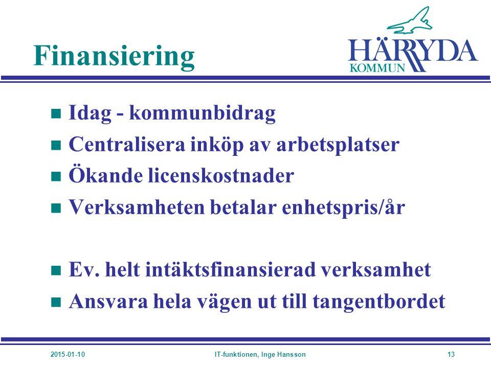2015-01-10IT-funktionen, Inge Hansson13 Finansiering n Idag - kommunbidrag n Centralisera inköp av arbetsplatser n Ökande licenskostnader n Verksamhet