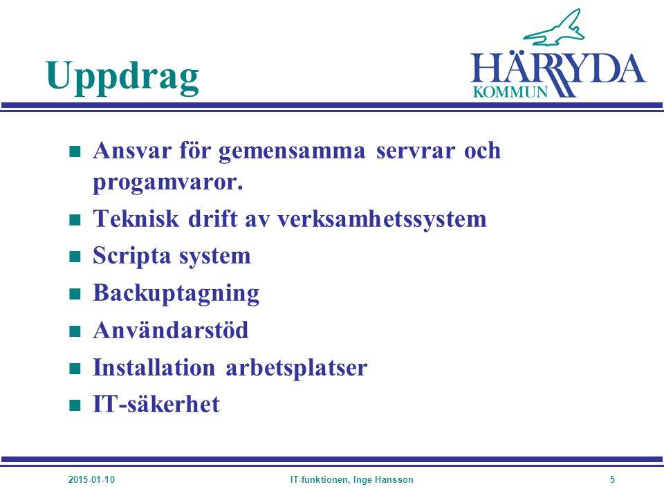 2015-01-10IT-funktionen, Inge Hansson5 Uppdrag n Ansvar för gemensamma servrar och progamvaror. n Teknisk drift av verksamhetssystem n Scripta system