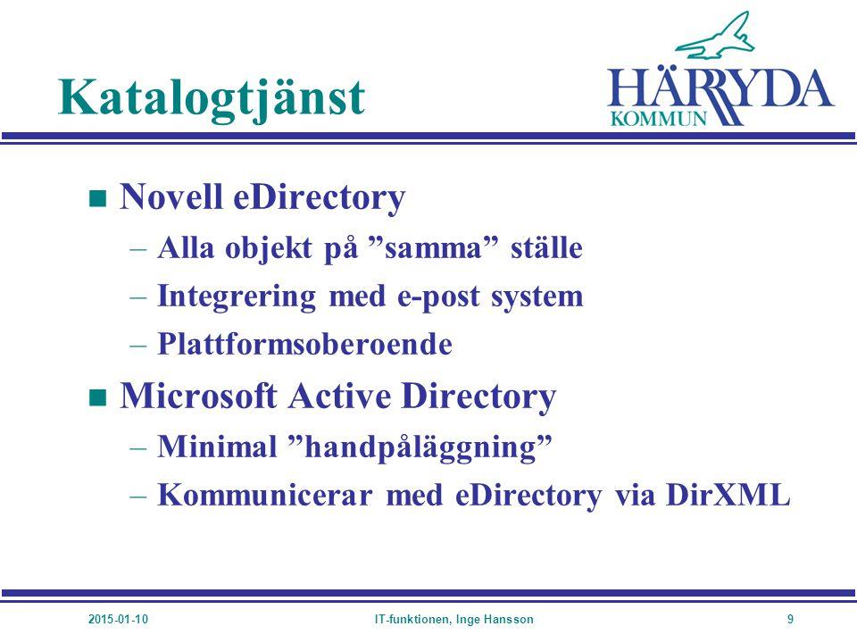 """2015-01-10IT-funktionen, Inge Hansson9 Katalogtjänst n Novell eDirectory –Alla objekt på """"samma"""" ställe –Integrering med e-post system –Plattformsober"""