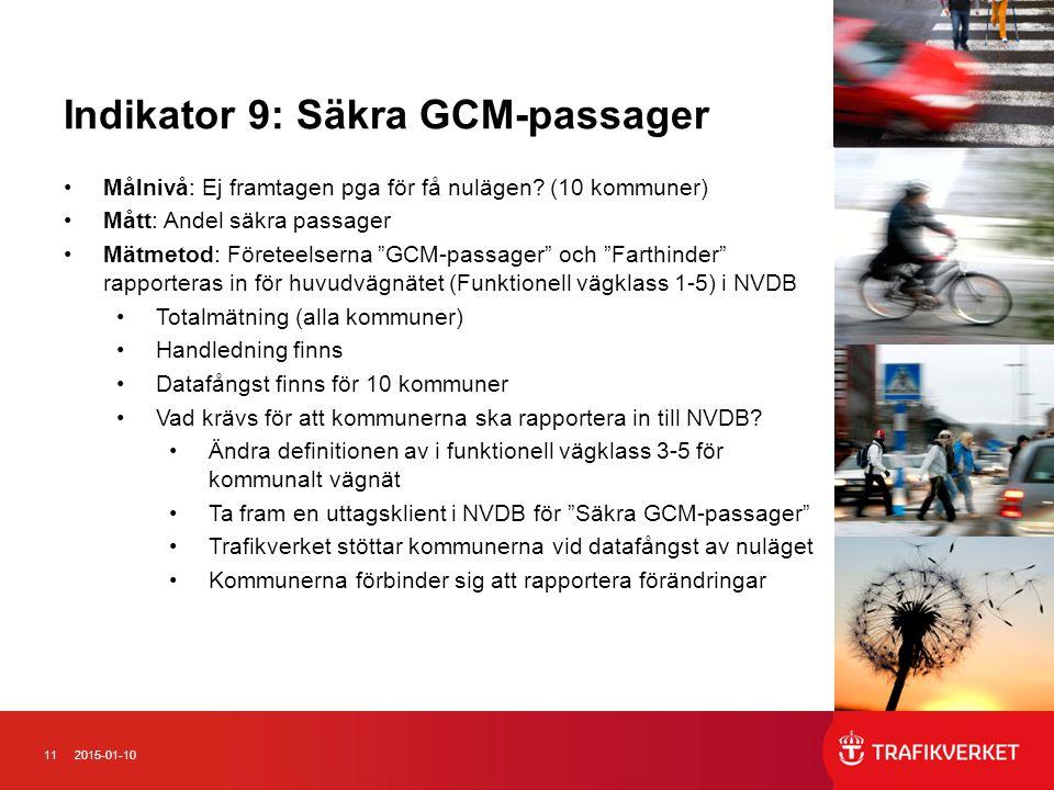 112015-01-10 Indikator 9: Säkra GCM-passager Målnivå: Ej framtagen pga för få nulägen? (10 kommuner) Mått: Andel säkra passager Mätmetod: Företeelsern
