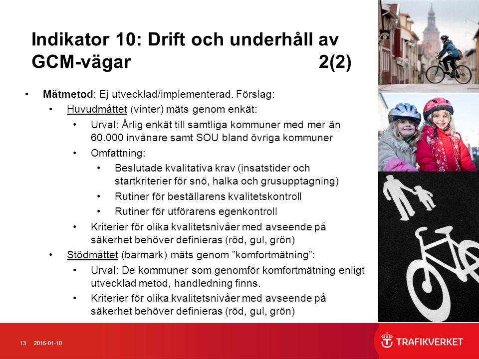 132015-01-10 Indikator 10: Drift och underhåll av GCM-vägar 2(2) Mätmetod: Ej utvecklad/implementerad. Förslag: Huvudmåttet (vinter) mäts genom enkät: