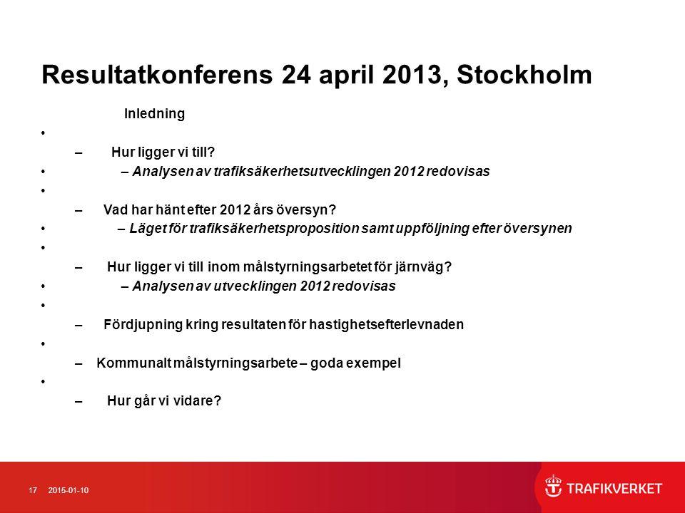172015-01-10 Resultatkonferens 24 april 2013, Stockholm Inledning – Hur ligger vi till? – Analysen av trafiksäkerhetsutvecklingen 2012 redovisas – Vad