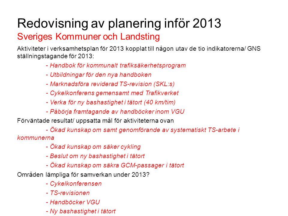 Redovisning av planering inför 2013 Sveriges Kommuner och Landsting Aktiviteter i verksamhetsplan för 2013 kopplat till någon utav de tio indikatorern
