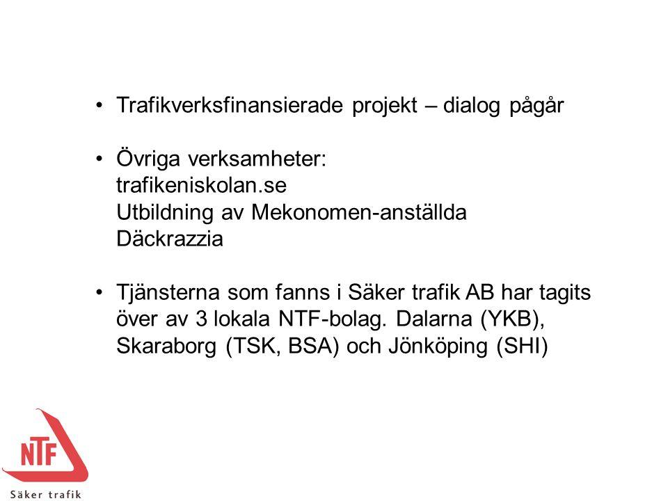 Trafikverksfinansierade projekt – dialog pågår Övriga verksamheter: trafikeniskolan.se Utbildning av Mekonomen-anställda Däckrazzia Tjänsterna som fan