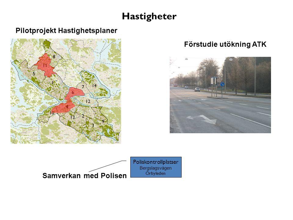 Pilotprojekt Hastighetsplaner Förstudie utökning ATK Samverkan med Polisen Poliskontrollplatser Bergslagsvägen Örbyleden Hastigheter