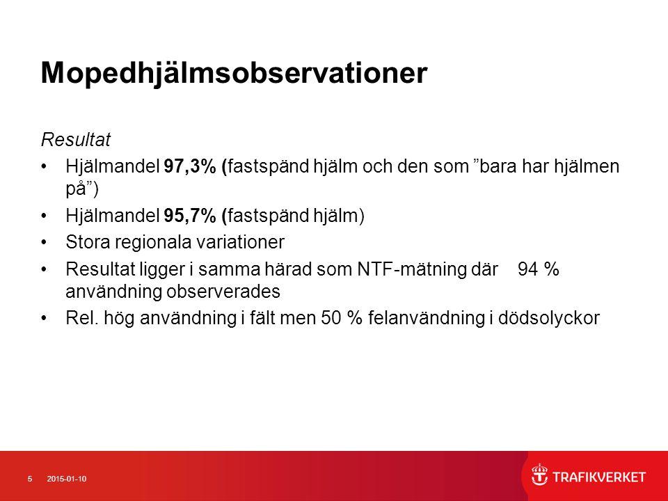 """52015-01-10 Mopedhjälmsobservationer Resultat Hjälmandel 97,3% (fastspänd hjälm och den som """"bara har hjälmen på"""") Hjälmandel 95,7% (fastspänd hjälm)"""