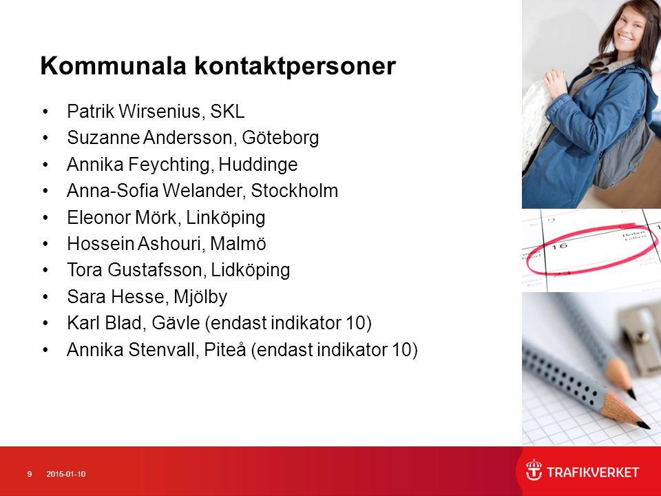 92015-01-10 Kommunala kontaktpersoner Patrik Wirsenius, SKL Suzanne Andersson, Göteborg Annika Feychting, Huddinge Anna-Sofia Welander, Stockholm Eleo