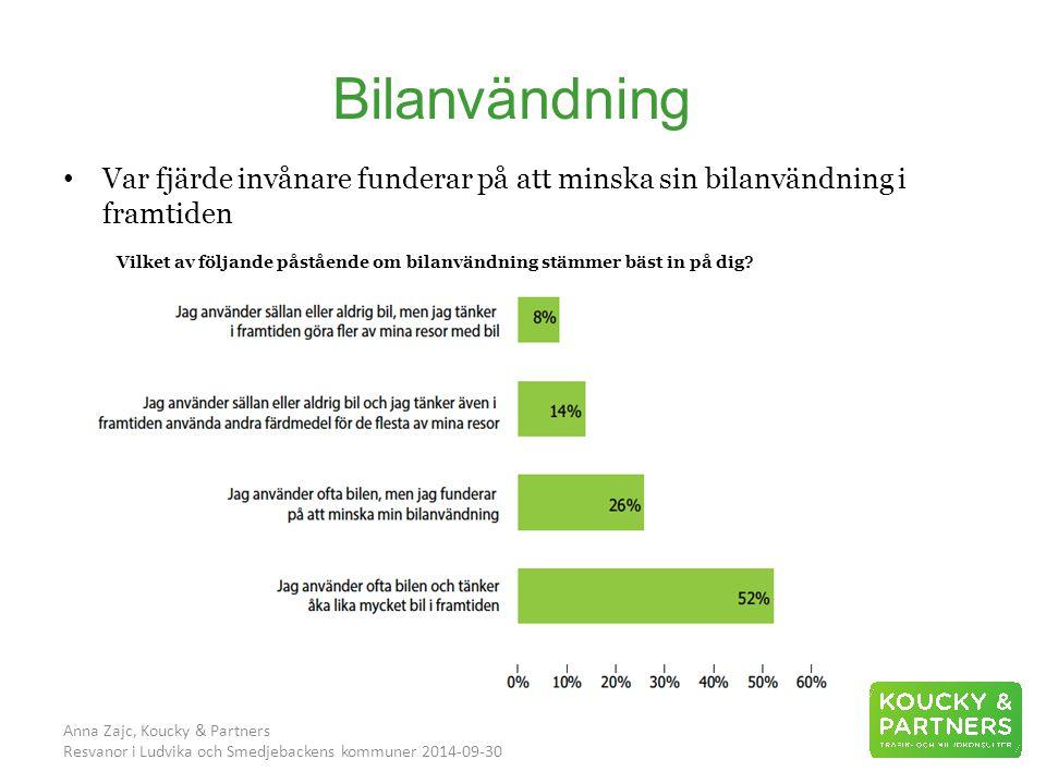 Bilanvändning Anna Zajc, Koucky & Partners Resvanor i Ludvika och Smedjebackens kommuner 2014-09-30 Vilket av följande påstående om bilanvändning stämmer bäst in på dig.