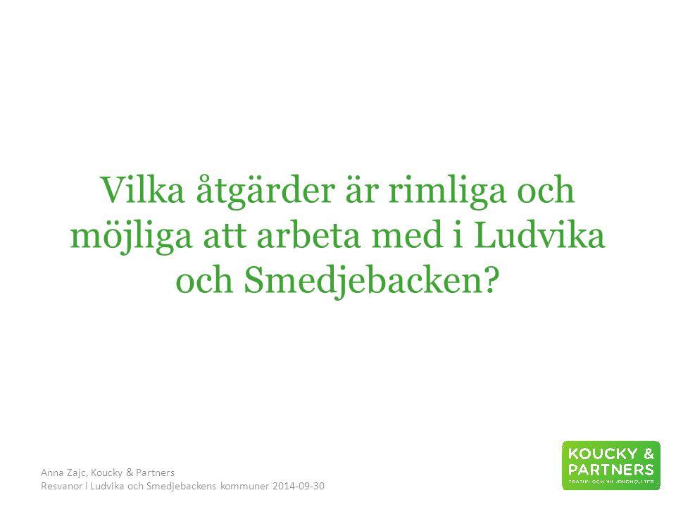 Anna Zajc, Koucky & Partners Resvanor i Ludvika och Smedjebackens kommuner 2014-09-30 Vilka åtgärder är rimliga och möjliga att arbeta med i Ludvika och Smedjebacken