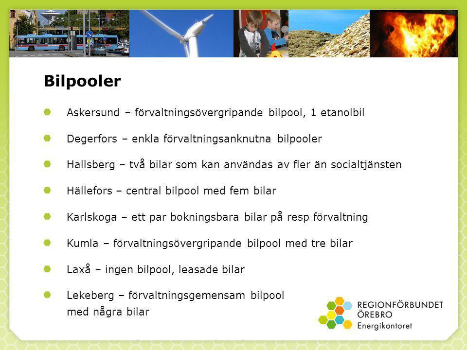 Bilpooler Lindesberg – förvaltningsövergripande bilpol med cirka 20 bilar Ljusnarsberg – kommungemensam bilpool med sex bilar samt socialtjänstens bilar som man kan låna om de är lediga Nora – bilpool för alla samt socialtjänstens bilar om de är lediga Örebro – både förvaltningsanknutna bilpooler och bilar tillgängliga för alla Örebro läns landsting – två förvaltningsknutna bilpooler (Karlskoga och Örebro) Örebro universitet – ingen bilpool, leasade bilar och hyrbilar