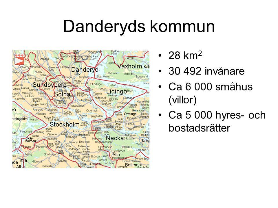 Danderyds kommun 28 km 2 30 492 invånare Ca 6 000 småhus (villor) Ca 5 000 hyres- och bostadsrätter