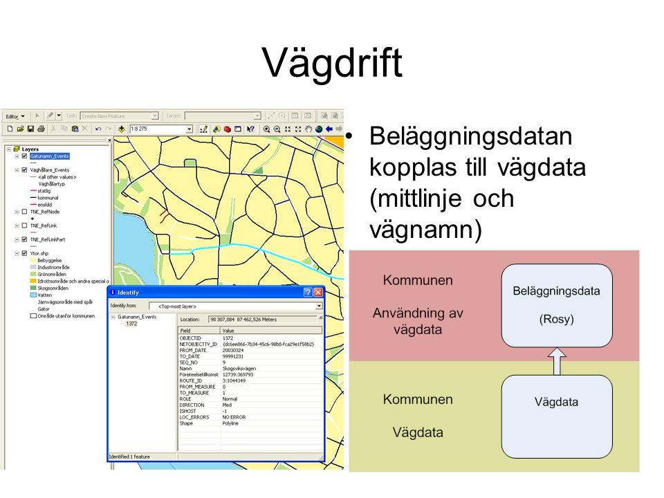 Beläggningsdatan kopplas till vägdata (mittlinje och vägnamn)