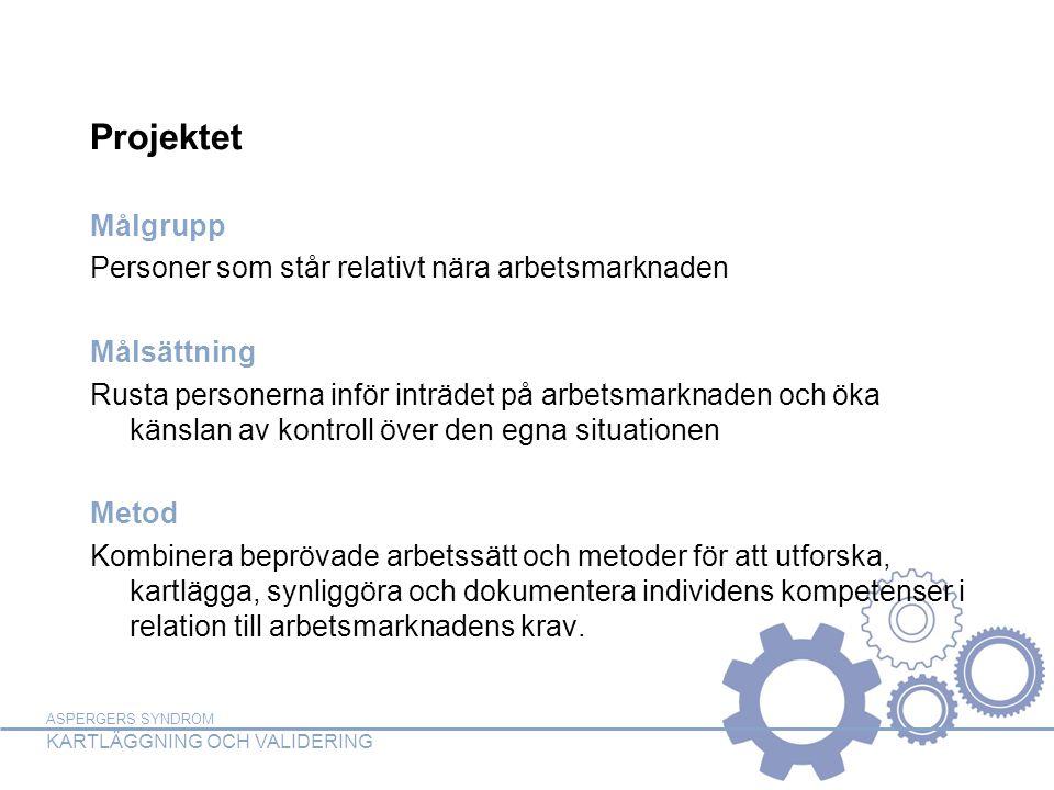 ASPERGERS SYNDROM KARTLÄGGNING OCH VALIDERING Projektet Målgrupp Personer som står relativt nära arbetsmarknaden Målsättning Rusta personerna inför in