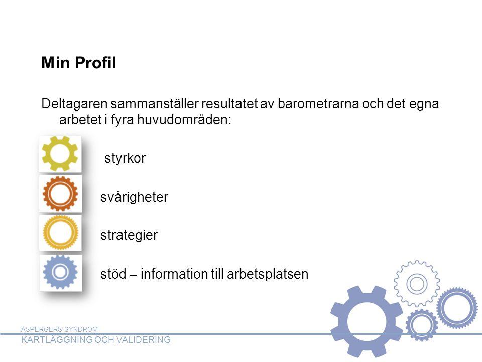 ASPERGERS SYNDROM KARTLÄGGNING OCH VALIDERING Min Profil Deltagaren sammanställer resultatet av barometrarna och det egna arbetet i fyra huvudområden: