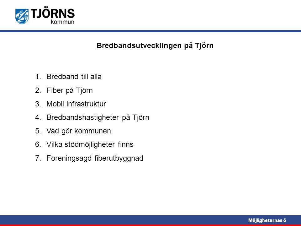 Möjligheternas ö Bredbandsutvecklingen på Tjörn 1.Bredband till alla 2.Fiber på Tjörn 3.Mobil infrastruktur 4.Bredbandshastigheter på Tjörn 5.Vad gör