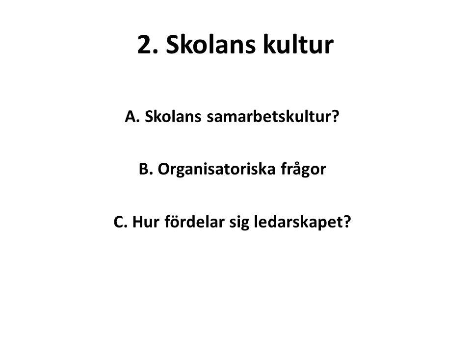 2.Skolans kultur A. Skolans samarbetskultur. B. Organisatoriska frågor C.