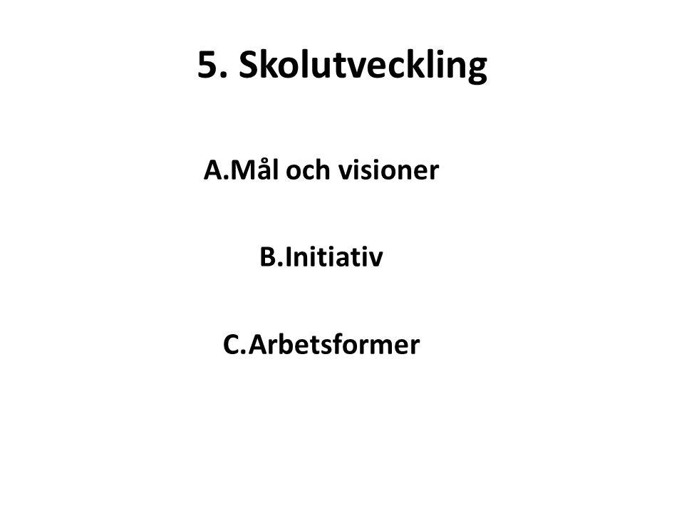 5. Skolutveckling A.Mål och visioner B.Initiativ C.Arbetsformer