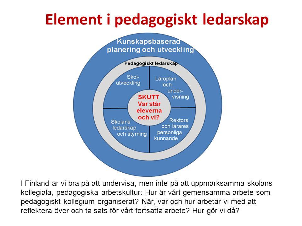Element i pedagogiskt ledarskap I Finland är vi bra på att undervisa, men inte på att uppmärksamma skolans kollegiala, pedagogiska arbetskultur: Hur är vårt gemensamma arbete som pedagogiskt kollegium organiserat.