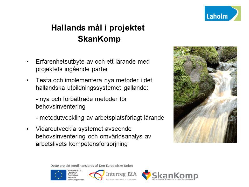Hallands mål i projektet SkanKomp Erfarenhetsutbyte av och ett lärande med projektets ingående parter Testa och implementera nya metoder i det halländ