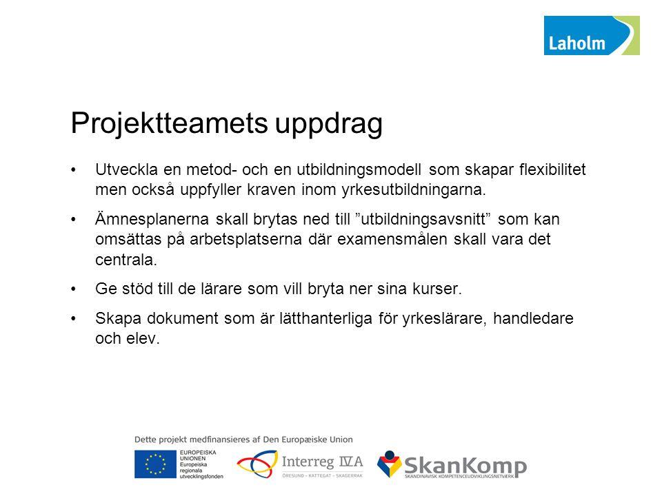 Projektteamets uppdrag Utveckla en metod- och en utbildningsmodell som skapar flexibilitet men också uppfyller kraven inom yrkesutbildningarna. Ämnesp