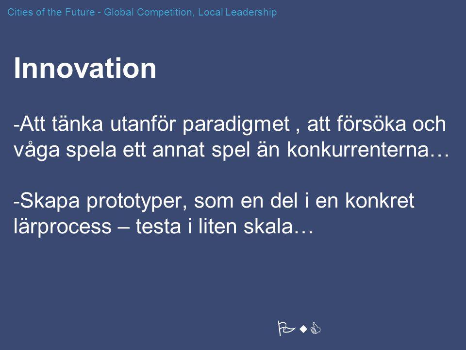 Innovation - Att tänka utanför paradigmet, att försöka och våga spela ett annat spel än konkurrenterna… - Skapa prototyper, som en del i en konkret lä