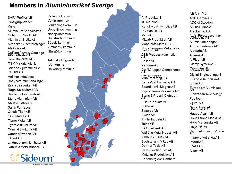 Members in Aluminiumriket Sverige SAPA Profiler AB Profilgruppen AB Kubal Aluminium Scandinavia Octanorm Nordic AB Aluminiuminstitutet Svenska Gjuteri