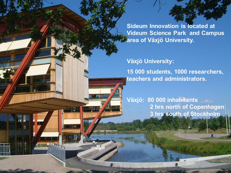 Sideum Innovation is located at Videum Science Park and Campus area of Växjö University. Växjö University: 15 000 students, 1000 researchers, teachers