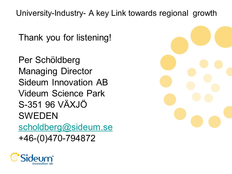 University-Industry- A key Link towards regional growth Thank you for listening! Per Schöldberg Managing Director Sideum Innovation AB Videum Science