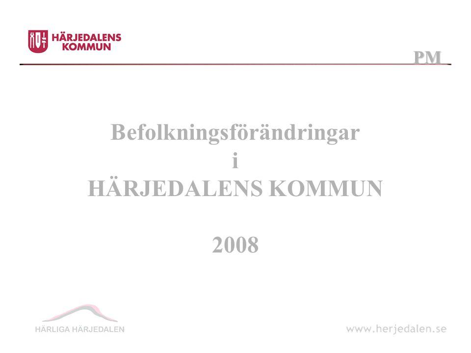 Befolkningsförändringar i HÄRJEDALENS KOMMUN 2008 PM