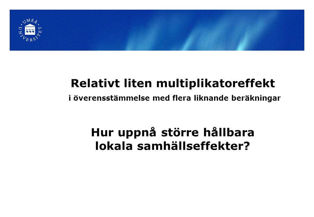 Relativt liten multiplikatoreffekt i överensstämmelse med flera liknande beräkningar Hur uppnå större hållbara lokala samhällseffekter