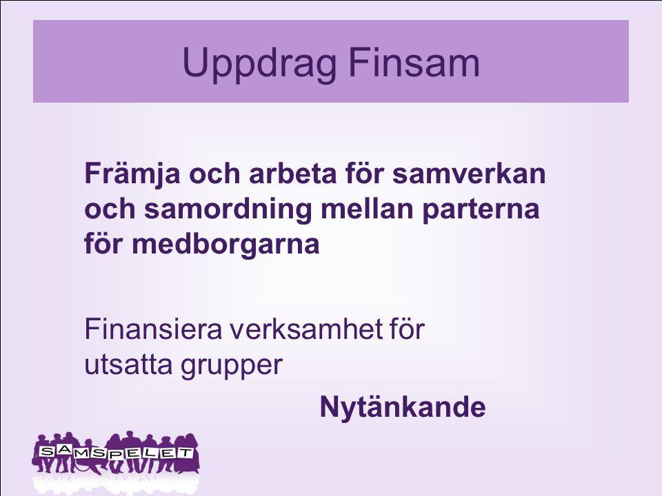 Uppdrag Finsam Främja och arbeta för samverkan och samordning mellan parterna för medborgarna Finansiera verksamhet för utsatta grupper Nytänkande
