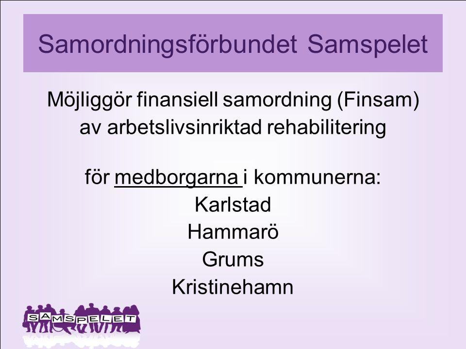 Samordningsförbundet Samspelet Möjliggör finansiell samordning (Finsam) av arbetslivsinriktad rehabilitering för medborgarna i kommunerna: Karlstad Ha