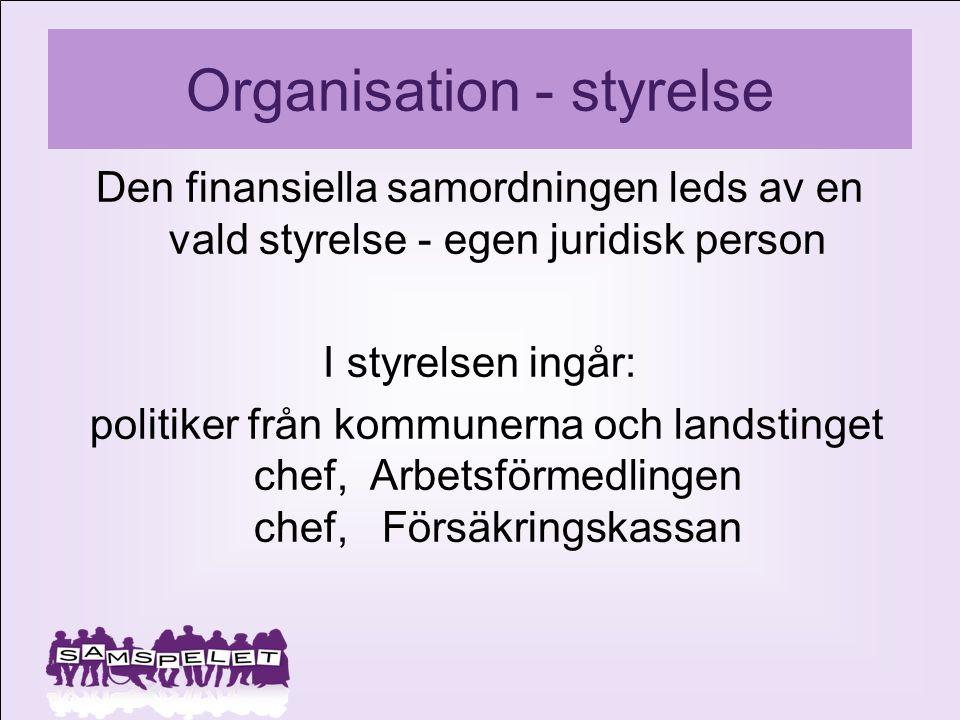 Organisation - styrelse Den finansiella samordningen leds av en vald styrelse - egen juridisk person I styrelsen ingår: politiker från kommunerna och