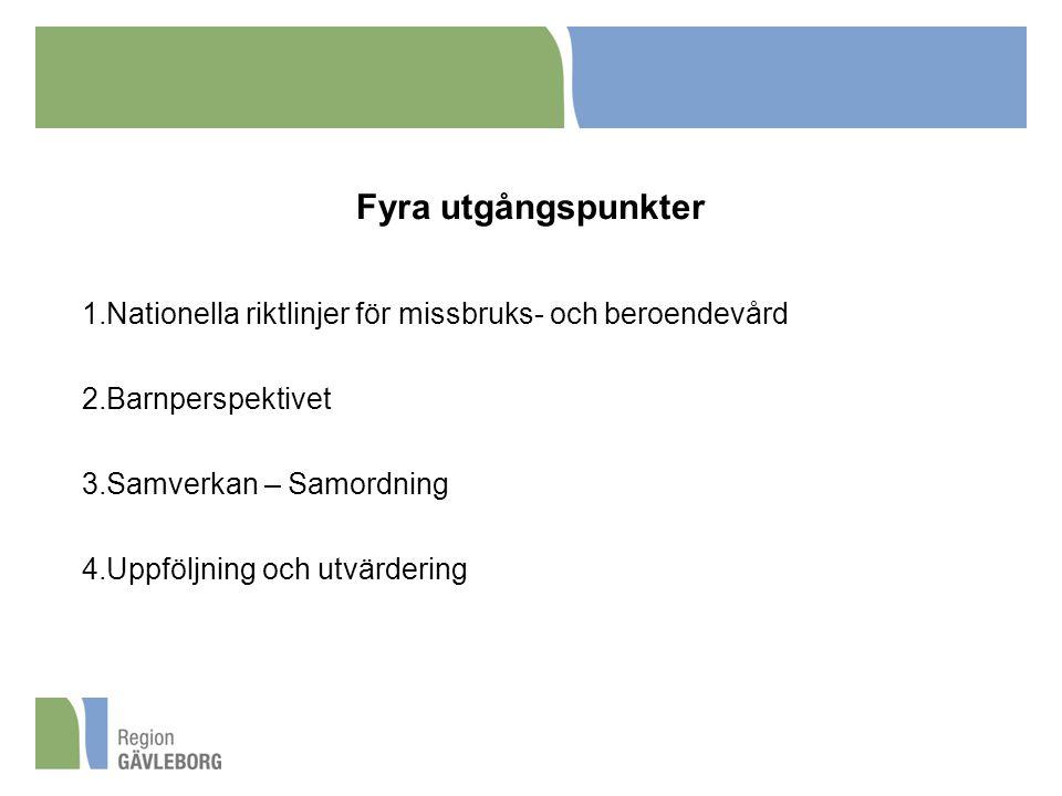 Fyra utgångspunkter 1.Nationella riktlinjer för missbruks- och beroendevård 2.Barnperspektivet 3.Samverkan – Samordning 4.Uppföljning och utvärdering