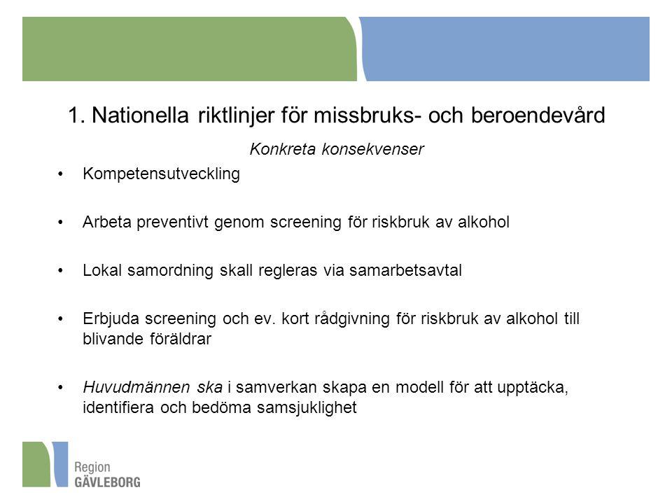 1. Nationella riktlinjer för missbruks- och beroendevård Konkreta konsekvenser Kompetensutveckling Arbeta preventivt genom screening för riskbruk av a