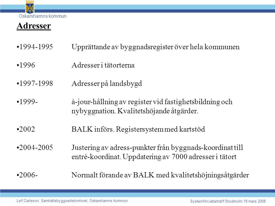 Oskarshamns kommun Leif Carlsson, Samhällsbyggnadskontoret, Oskarshamns kommun Systemförvaltarträff Stockholm 19 mars 2008 Adresser 1994-1995Upprättande av byggnadsregister över hela kommunen 1996Adresser i tätorterna 1997-1998Adresser på landsbygd 1999-à-jour-hållning av register vid fastighetsbildning och nybyggnation.