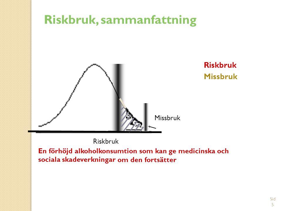 Sid 5 Riskbruk Missbruk Missbruk Riskbruk En förhöjd alkoholkonsumtion som kan ge medicinska och sociala skadeverkningar om den fortsätter Riskbruk, sammanfattning