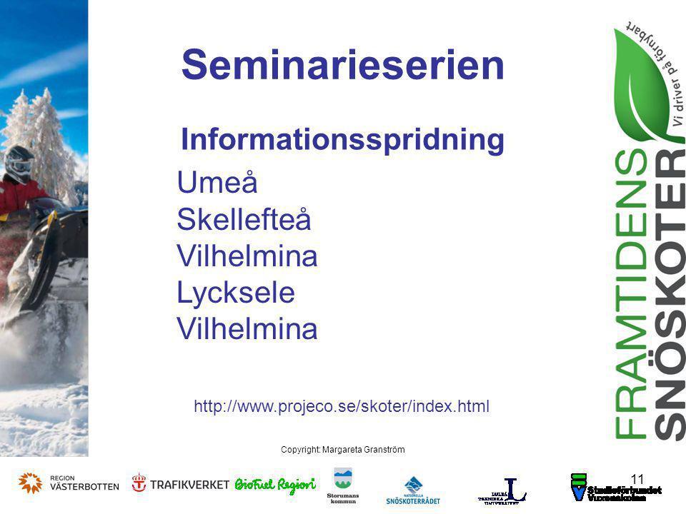 Seminarieserien Informationsspridning 11 Copyright: Margareta Granström Umeå Skellefteå Vilhelmina Lycksele Vilhelmina http://www.projeco.se/skoter/index.html