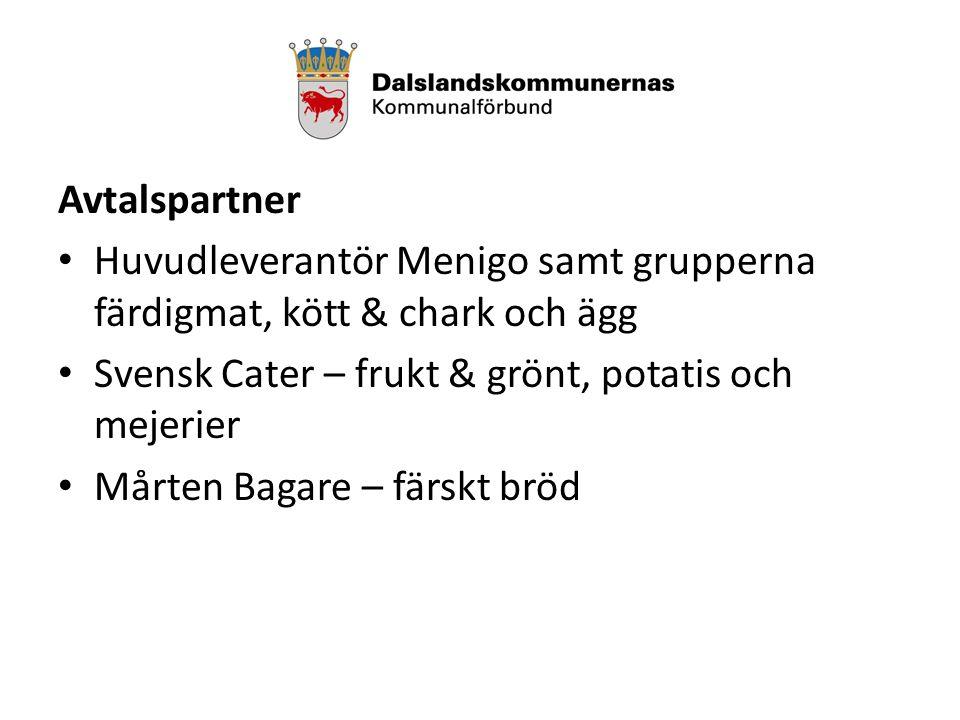 Avtalspartner Huvudleverantör Menigo samt grupperna färdigmat, kött & chark och ägg Svensk Cater – frukt & grönt, potatis och mejerier Mårten Bagare – färskt bröd