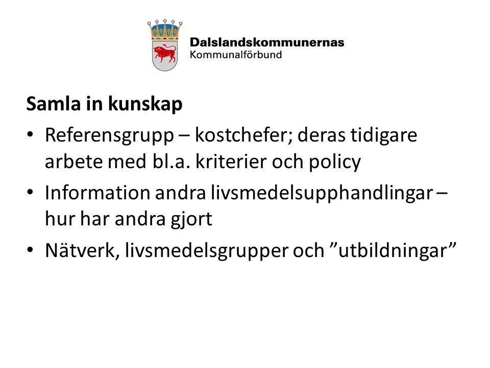 Samla in kunskap Referensgrupp – kostchefer; deras tidigare arbete med bl.a.