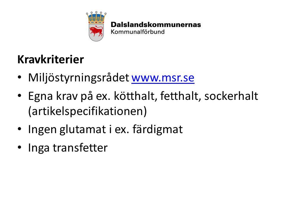 Kravkriterier Miljöstyrningsrådet www.msr.sewww.msr.se Egna krav på ex.