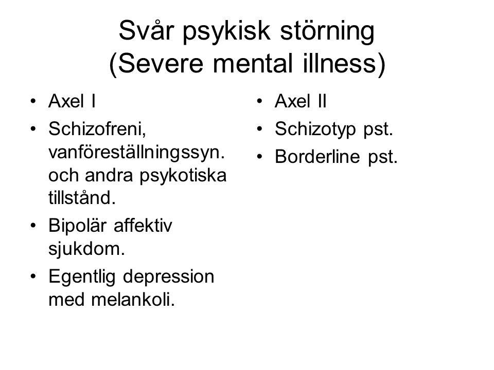 Svår psykisk störning (Severe mental illness) Axel I Schizofreni, vanföreställningssyn.