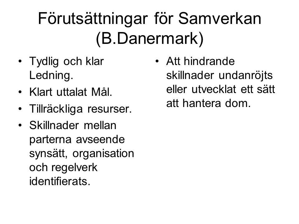 Förutsättningar för Samverkan (B.Danermark) Tydlig och klar Ledning.