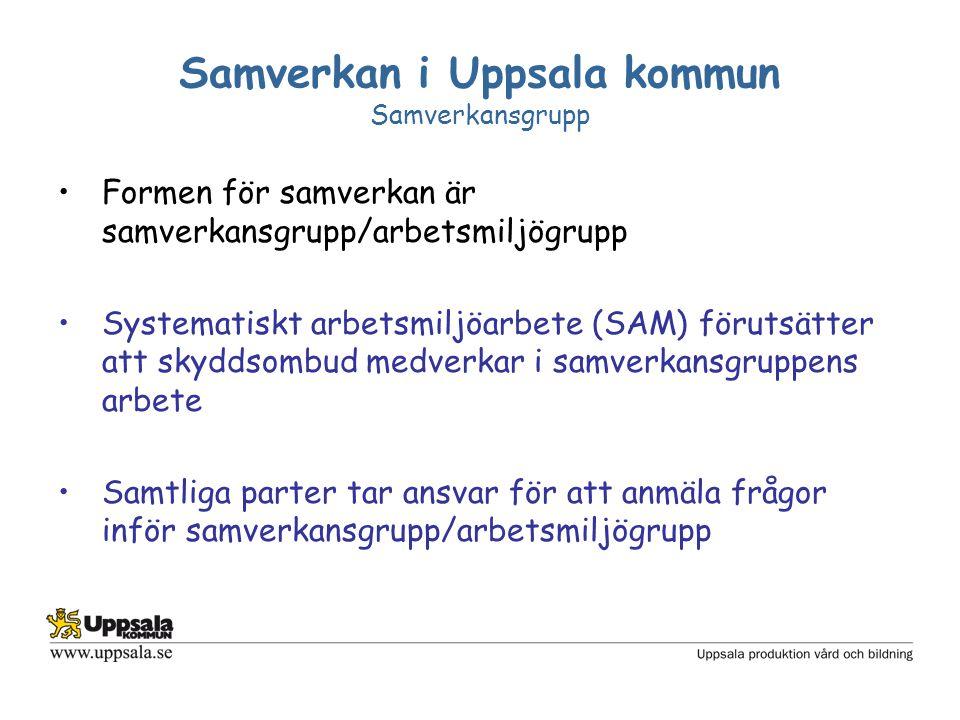 Samverkan i Uppsala kommun Samverkansgrupp Formen för samverkan är samverkansgrupp/arbetsmiljögrupp Systematiskt arbetsmiljöarbete (SAM) förutsätter a