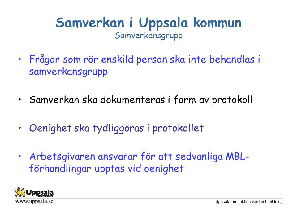 Samverkan i Uppsala kommun Samverkansgrupp Frågor som rör enskild person ska inte behandlas i samverkansgrupp Samverkan ska dokumenteras i form av pro